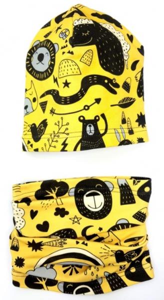 Bexa Jarní čepice + komínek, Zvířátka, žlutá/černá, vel. 1-2 roky
