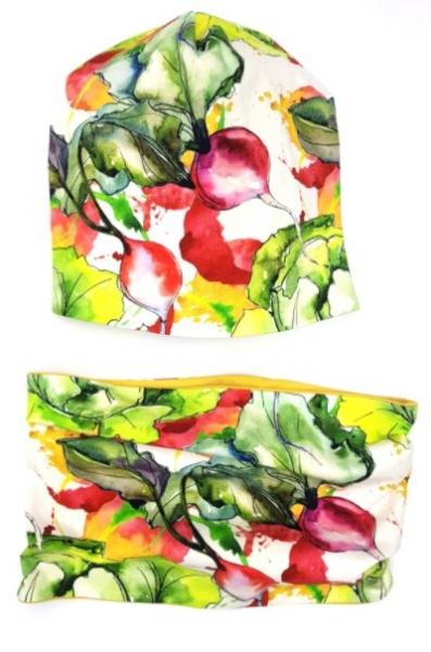 Bexa Jarní dvouvrstvá čepice + komínek, Vegetables, vícebarevná, vel. 4 - 6 let