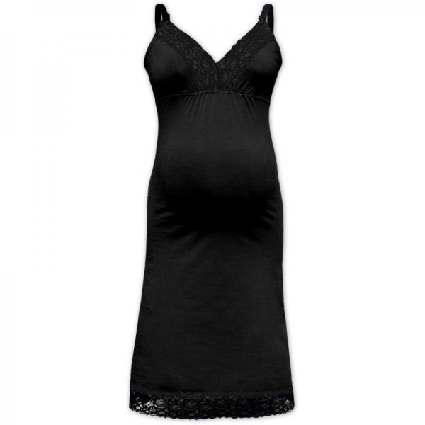 JOŽÁNEK Kojící noční košile JANA s krajkou na ramínka - černá, vel. L/XL, Velikost: L/XL