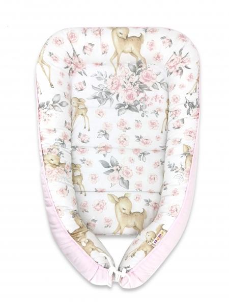 Baby Nellys Bavlněné oboustranné hnízdečko , 55x75cm, Srnka a růže - růžová