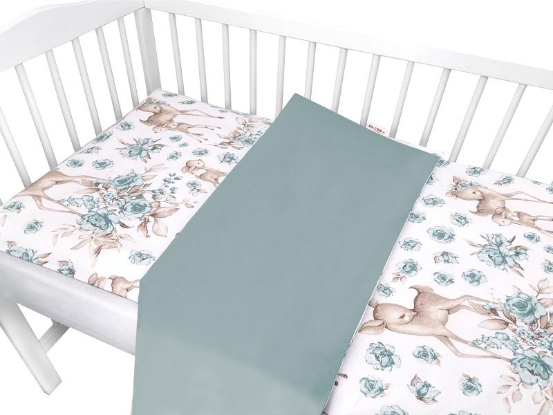 Baby Nellys 2-dílné bavlněné povlečení, Srnka a růže - mátová, 135x100 cm