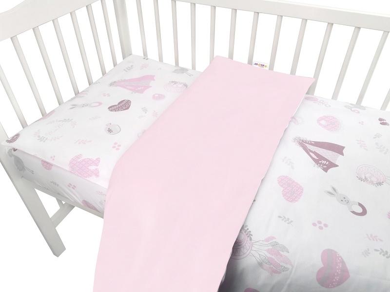 Baby Nellys 2-dílné bavlněné povlečení, New Love Baby - růžová, 135x100 cm