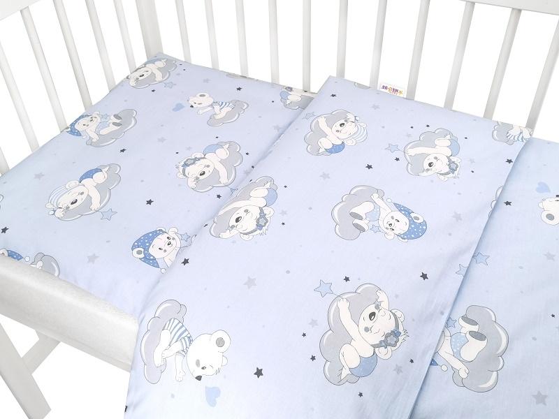 Baby Nellys 2-dílné bavlněné povlečení, Mráček - modrá, 135x100 cm