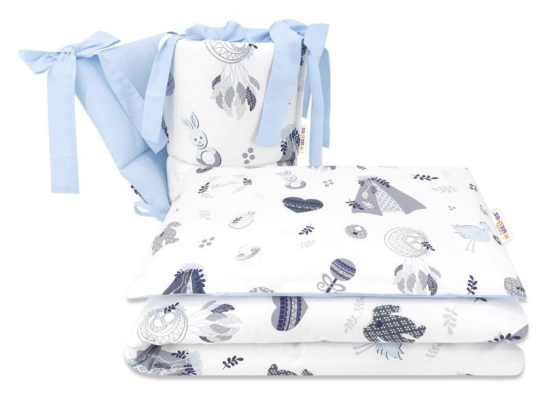 BABY NELLYS 3-dílná sada Mantinel s povlečením, New Love Baby, modrá