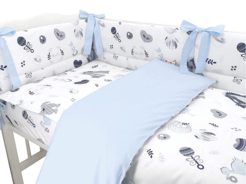 BABY NELLYS 3-dílná sada Mantinel s povlečením, New Love Baby, modrá, 135x100 cm