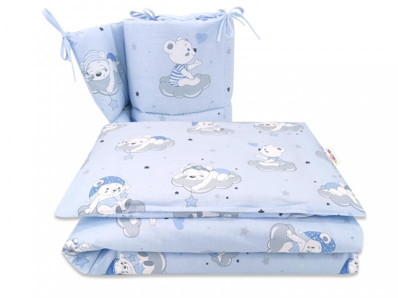 BABY NELLYS 3-dílná sada Mantinel s povlečením, Mráček, modrá, 135x100 cm