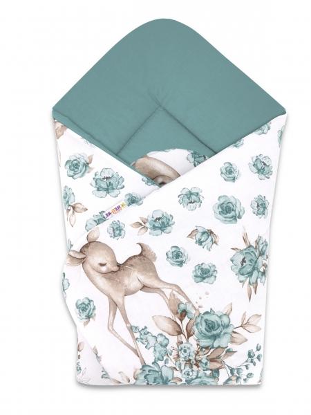 Baby Nellys  novorozenecká zavinovačka, Srnka a růže, 75x75cm, mátová