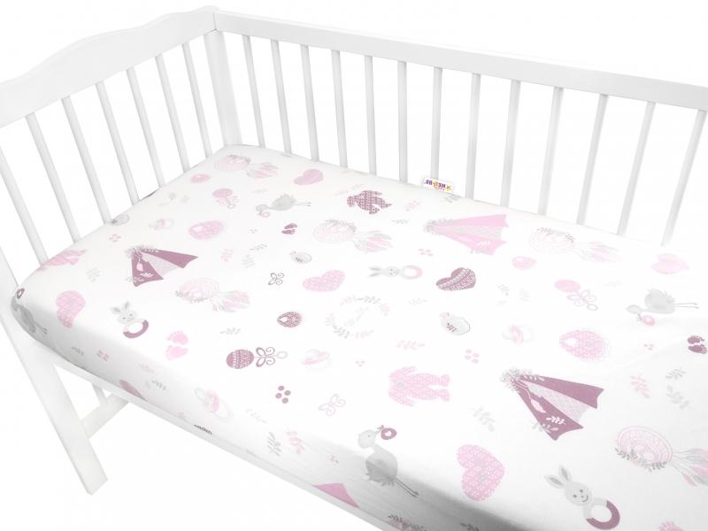 Baby Nellys Dětské bavlněné prostěradlo do postýlky, New Love Baby - růžové, 140 x 70 cm