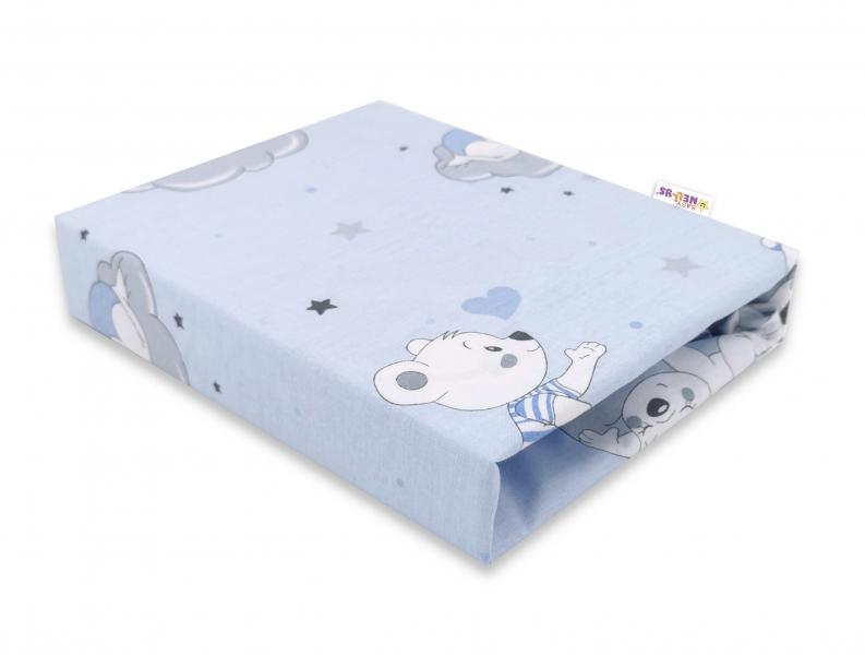 Baby Nellys Dětské bavlněné prostěradlo do postýlky, Mráček - modré, 140 x 70 cm