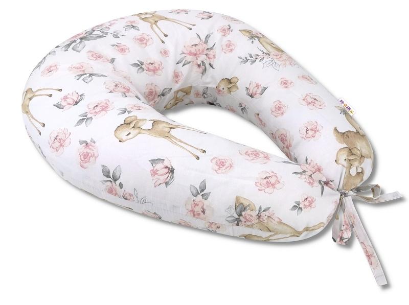 Baby Nellys Bavlněný kojící polštář, Srnka a růže - růžová