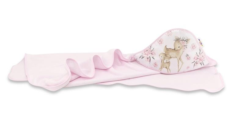 Dětská termoosuška s kapucí Baby Nellys, Srnka a růže, 100 x 100 cm, růžová