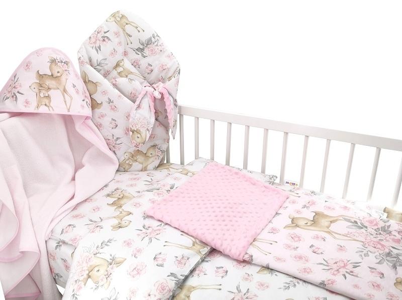 Baby Nellys 6-ti dílná výhod. sada s dárkem pro miminko, 135 x 100 - Srnka a růže, růžová