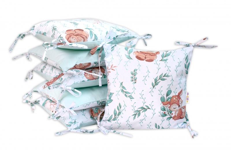 Polštářkový mantinel Baby Nellys, LULU natural, bavlna - mátová
