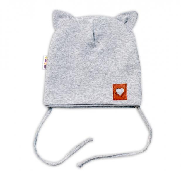 Baby Nellys Bavlněná dvouvrstvá čepice s oušky na zavazování FOX - šedý melírek, 44-46