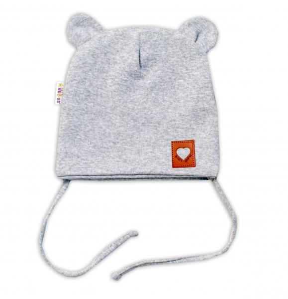 Baby Nellys Bavlněná dvouvrstvá čepice s oušky na zavazování TEDDY - šedý melírek