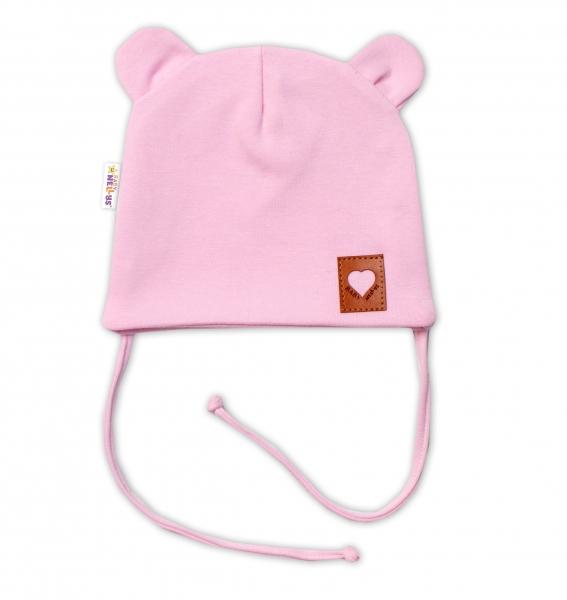Baby Nellys Bavlněná dvouvrstvá čepice s oušky na zavazování TEDDY - růžová