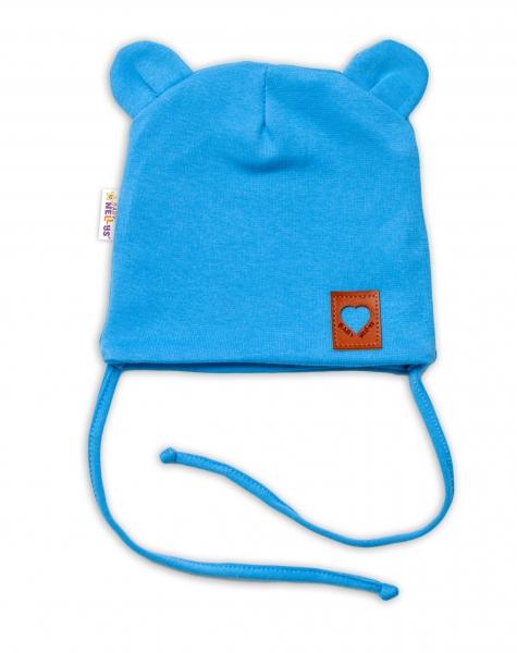 Baby Nellys Bavlněná dvouvrstvá čepice s oušky na zavazování TEDDY - modrá