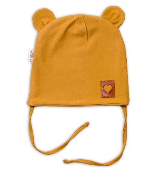 Baby Nellys Bavlněná dvouvrstvá čepice s oušky na zavazování TEDDY - hořčicová