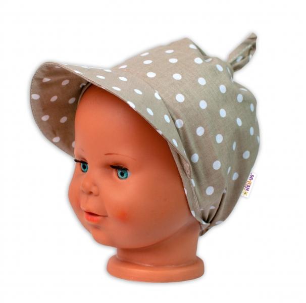 Baby Nellys Šátek na zavazování s kšiltem - Puntík, béžový