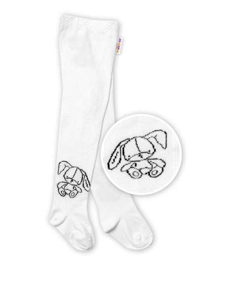 Baby Nellys Dětské bavlněné punčocháče Cute Bunny - bílé, vel. 80/86