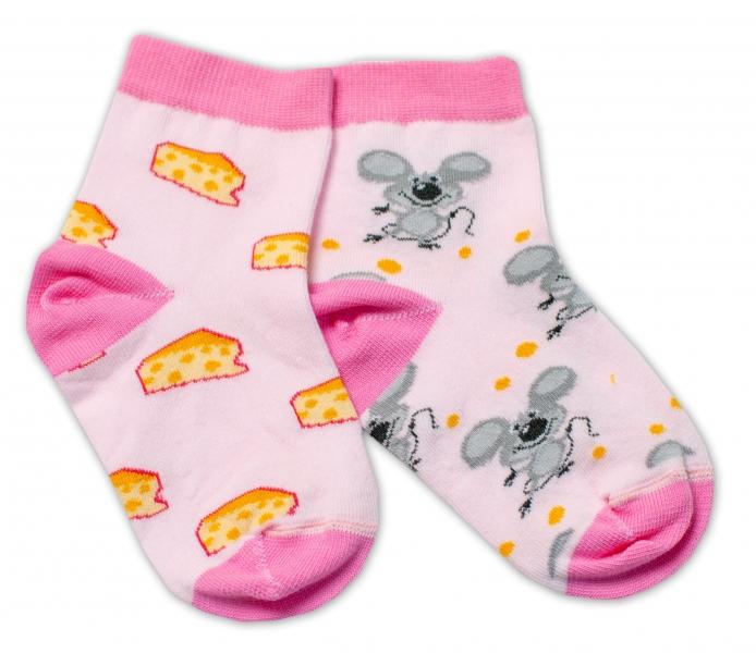 Baby Nellys Bavlněné veselé ponožky Myška a sýr - světle růžová
