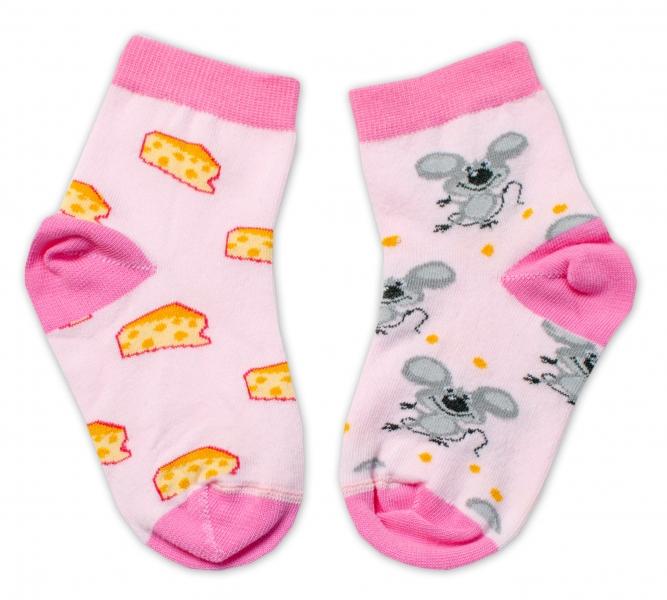 Baby Nellys Bavlněné veselé ponožky Myška a sýr - světle růžová, vel. 15-16 cm