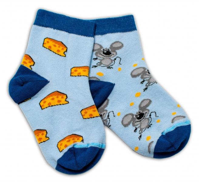 Baby Nellys Bavlněné veselé ponožky Myška a sýr - světle modré