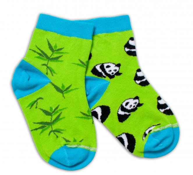 Baby Nellys Bavlněné veselé ponožky Panda - zelené, vel. 15-16 cm