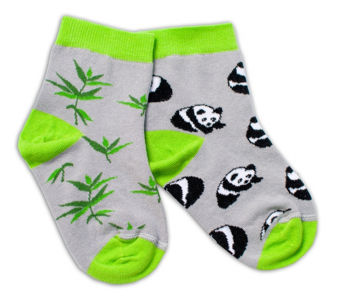 Baby Nellys Bavlněné veselé ponožky Panda - šedé, vel. 15-16 cm