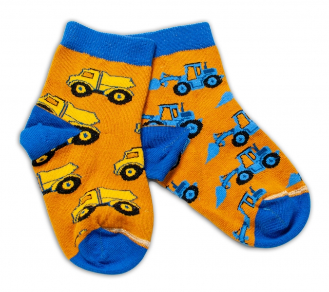 Baby Nellys Bavlněné veselé ponožky Stavební stroje - hořčicové, vel. 15-16 cm