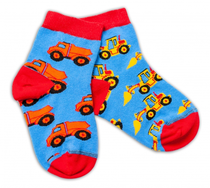 Baby Nellys Bavlněné veselé ponožky Stavební stroje - modré, vel. 15-16 cm