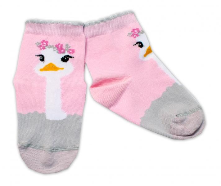 Baby Nellys Bavlněné ponožky Pštros - světle růžové, vel. 15-16 cm