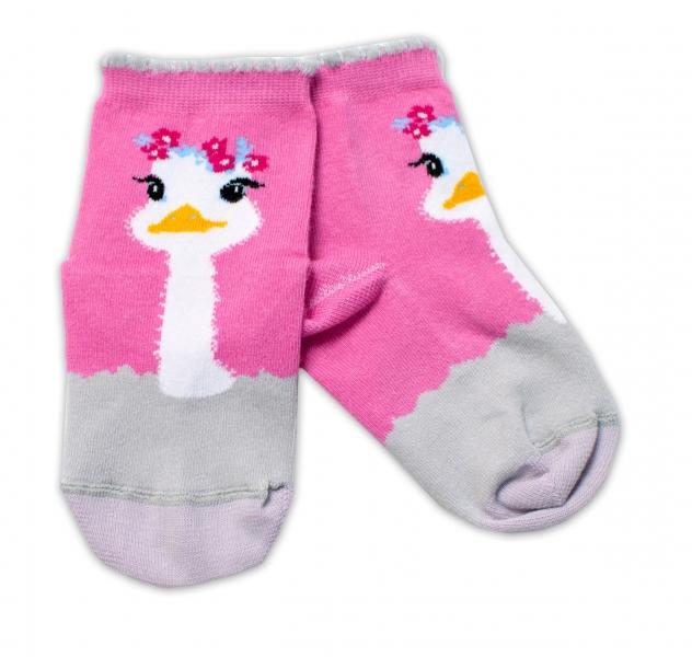 Baby Nellys Bavlněné ponožky Pštros - tmavě růžové, vel. 15-16 cm