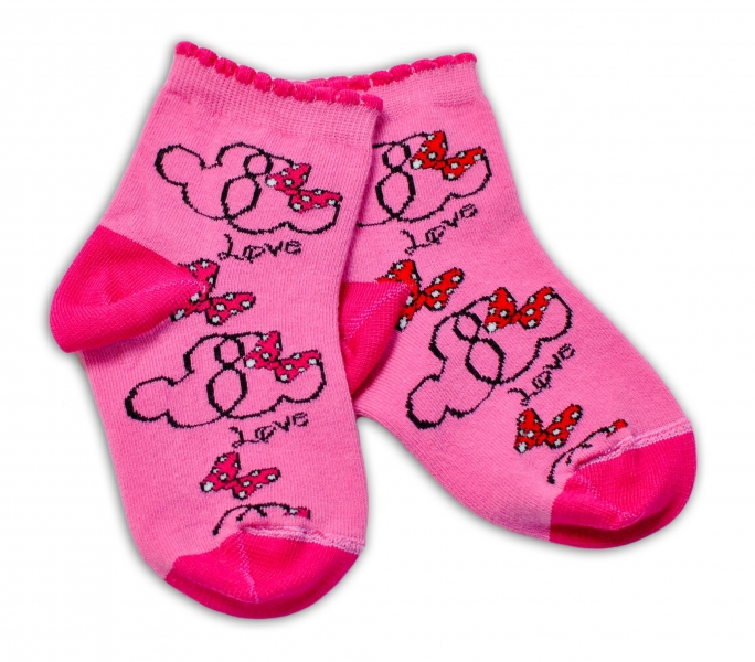Baby Nellys Bavlněné ponožky Minnie Love - tmavě růžové, vel. 15-16 cm