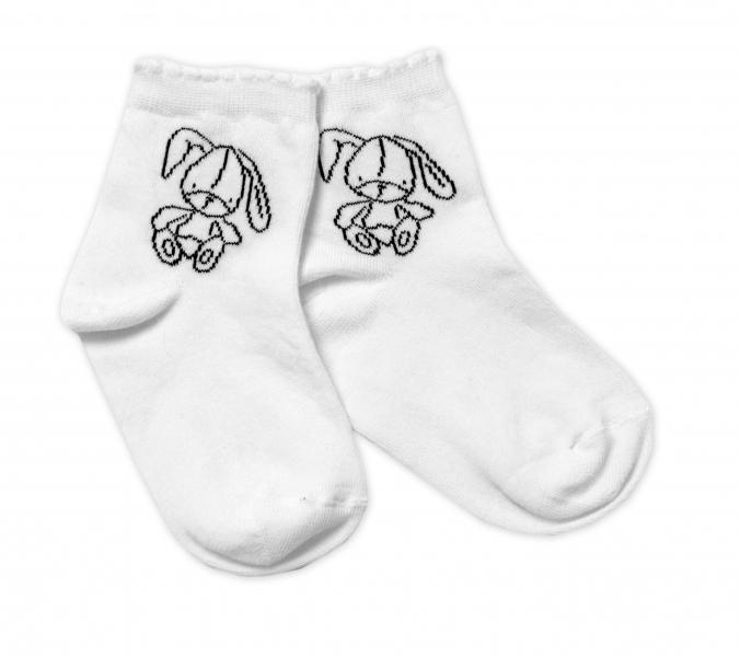 Baby Nellys Bavlněné ponožky Cutte Bunny - bílé, vel. 17-18 cm