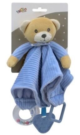 Tulilo Přítulníček, mazlík  s chrastítkem a kousátkem Méďa Teddy - modrý