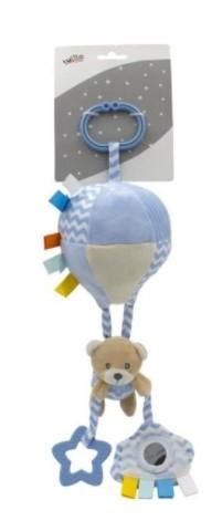 Tulilo Závěsná plyšová hračka s rolničkou Letající balón - Méďa Teddy, modrá