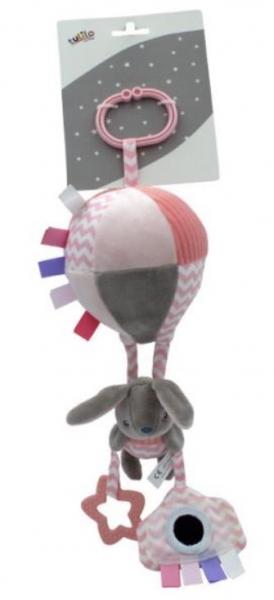 Tulilo Závěsná plyšová hračka s rolničkou Letající balón - Králíček, meruňková