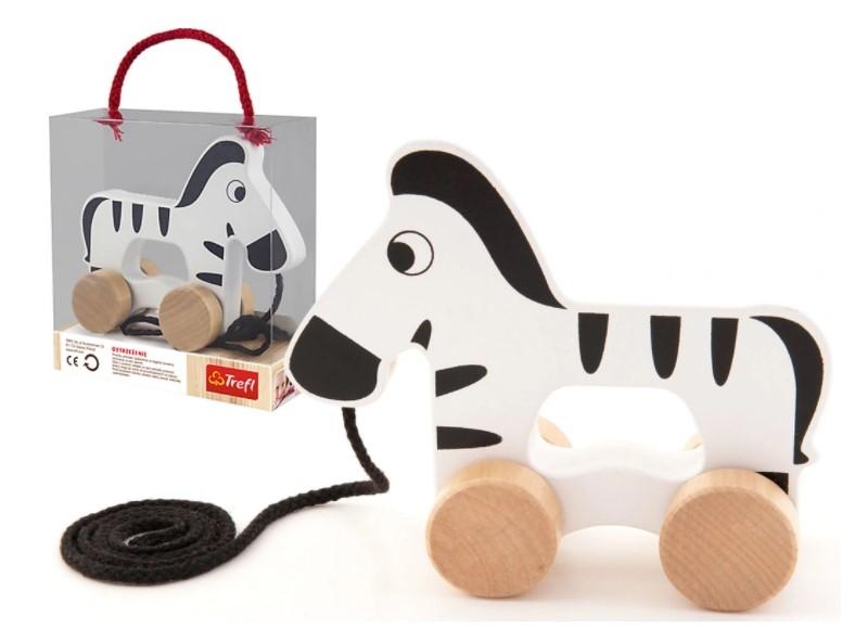 Trefl Edukační dřevěná hračka 14 cm tahací - Zebra