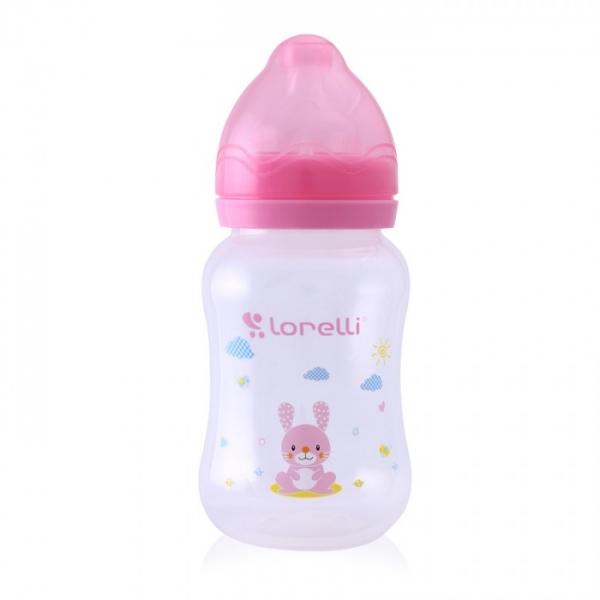 Kojenecká lahvička Lorelli 250 ml s širokým hrdlem ANIMALS PINK