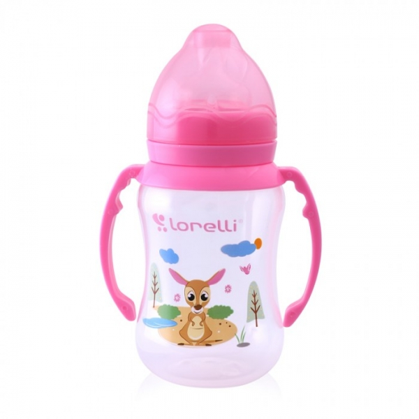 Kojenecká lahvička Lorelli 250 ml s širokým hrdlem a oušky ANIMALS PINK