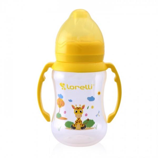 Kojenecká lahvička Lorelli 250 ml s širokým hrdlem a oušky ANIMALS YELLOW