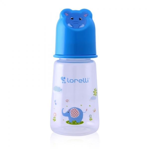 Kojenecká lahvička Lorelli 125 ml s víkem ve tvaru zvířete BLUE