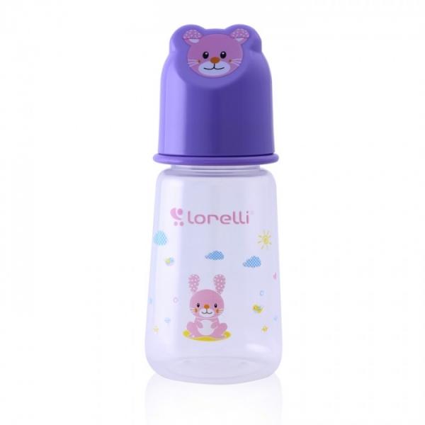 Kojenecká lahvička Lorelli 125 ml s víkem ve tvaru zvířete VIOLET