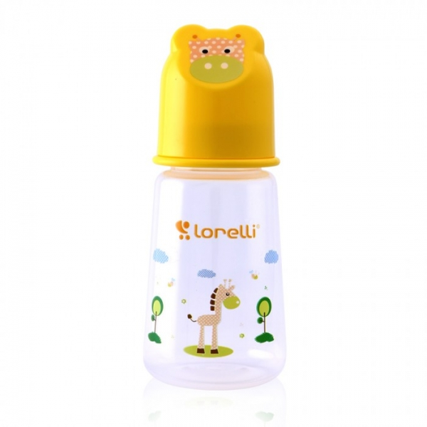 Kojenecká lahvička Lorelli 125 ml s víkem ve tvaru zvířete YELLOW