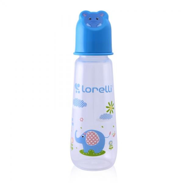 Kojenecká lahvička Lorelli 250 ML s víkem ve tvaru zvířete BLUE