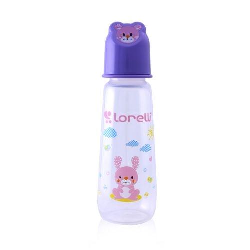 Kojenecká lahvička Lorelli 250 ml s víkem ve tvaru zvířete VIOLET