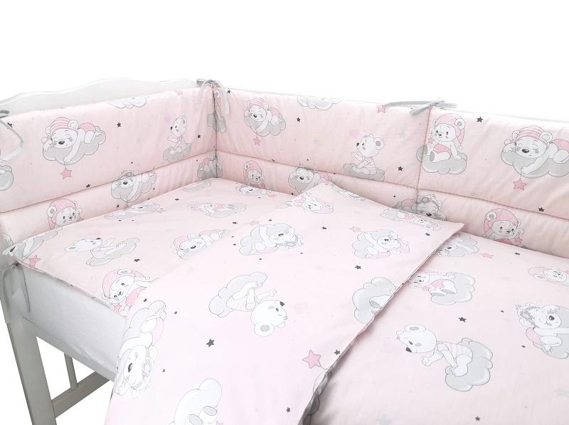 BABY NELLYS 3-dílná sada Mantinel s povlečením, Mráček, růžová, 135x100 cm