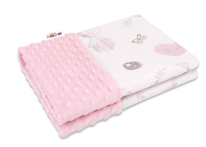 Baby Nellys Bavlněná deka s Minky 100x75cm, New Love Baby - růžová