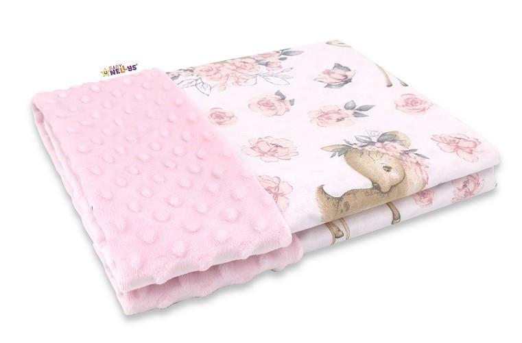 Baby Nellys Bavlněná deka s Minky 100x75cm, Srnka a růže - růžová